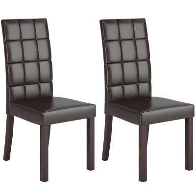 Atwood Dark Brown Leatherette Dining Chairs (Set of 2)