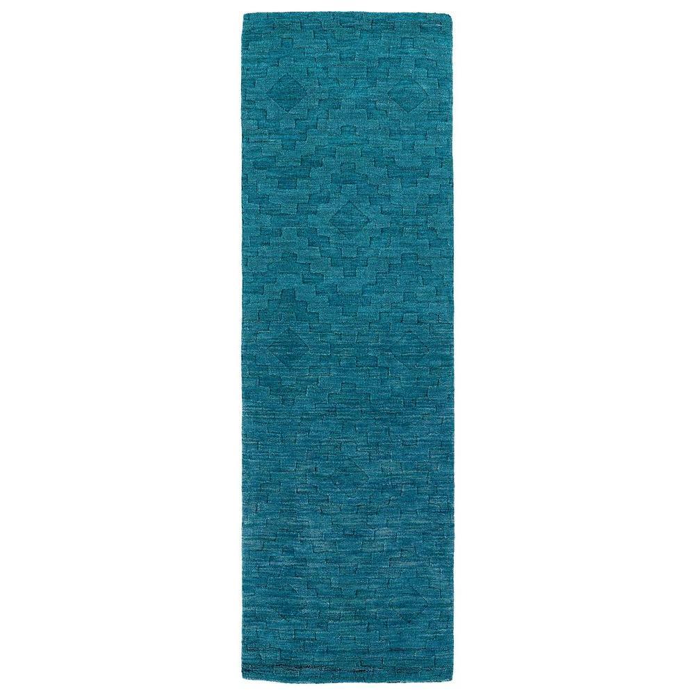 Imprints Modern Turquoise 3 ft. x 8 ft. Runner Rug