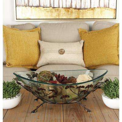 24 in. x 9 in. New Traditional Brown Iron and Glass Gingko Leaf Bowl Server