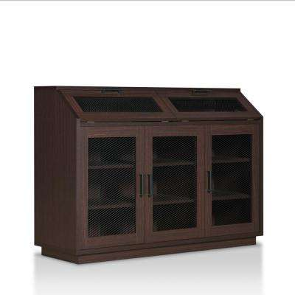 Lexington 33.4 in. H x 47.2 in. W 15-Pair Walnut Wood Shoe Storage Cabinet