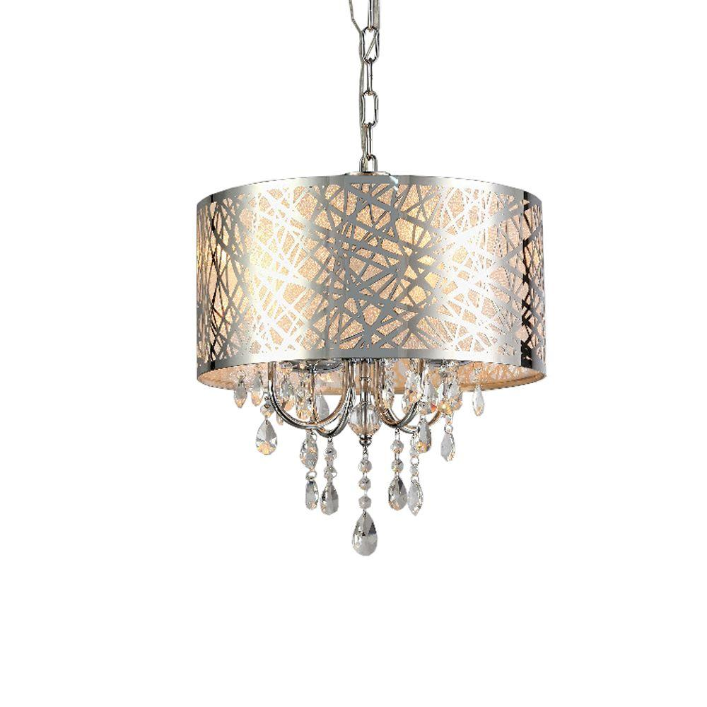 Abstract 4 light chrome indoor crystal chandelier with shade rl5425 abstract 4 light chrome indoor crystal chandelier with shade aloadofball Gallery