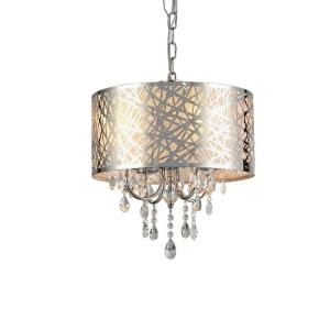 Abstract 4-Light Chrome Indoor Crystal Chandelier with Shade by