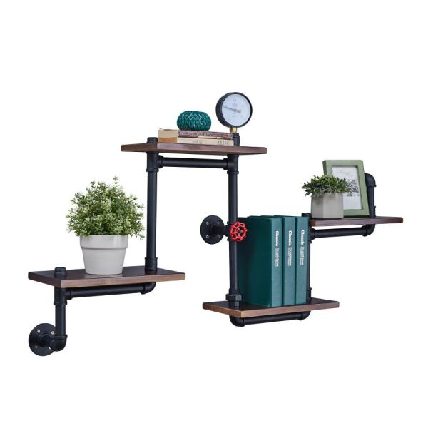 DANYA B 4-Shelf 44.5 in. x 8 in. Corner Or Straight Floating Industrial Pipe Wall Mount Shelving Unit