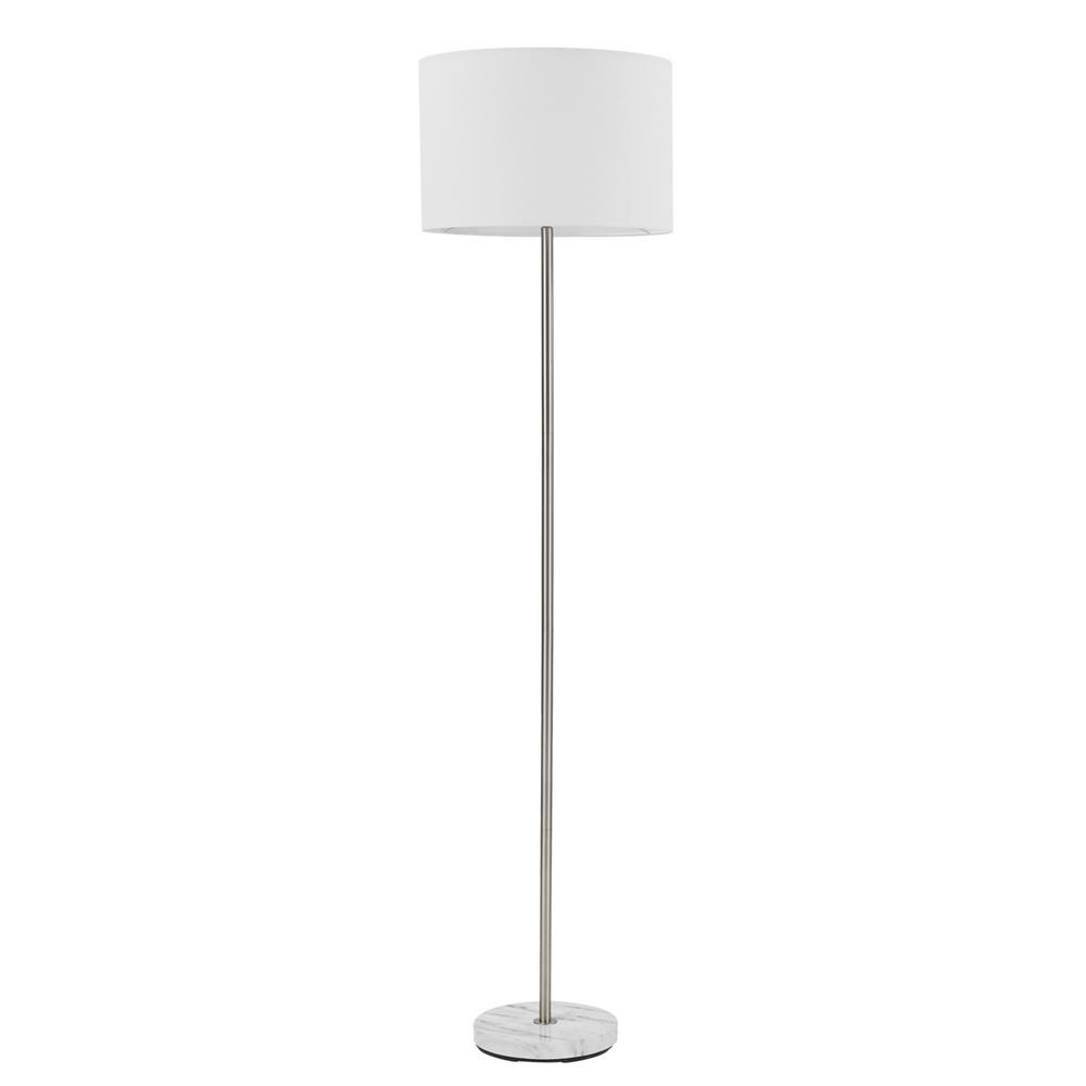 Globe Electric Versailles 60 in. Brushed Nickel Floor Lamp with Faux Marble Accent