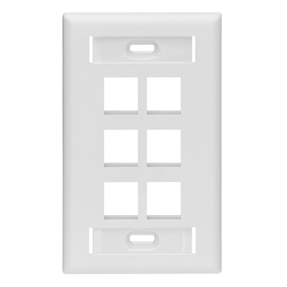 1-Gang QuickPort Standard Size 6-Port Wallplate with ID Windows, White