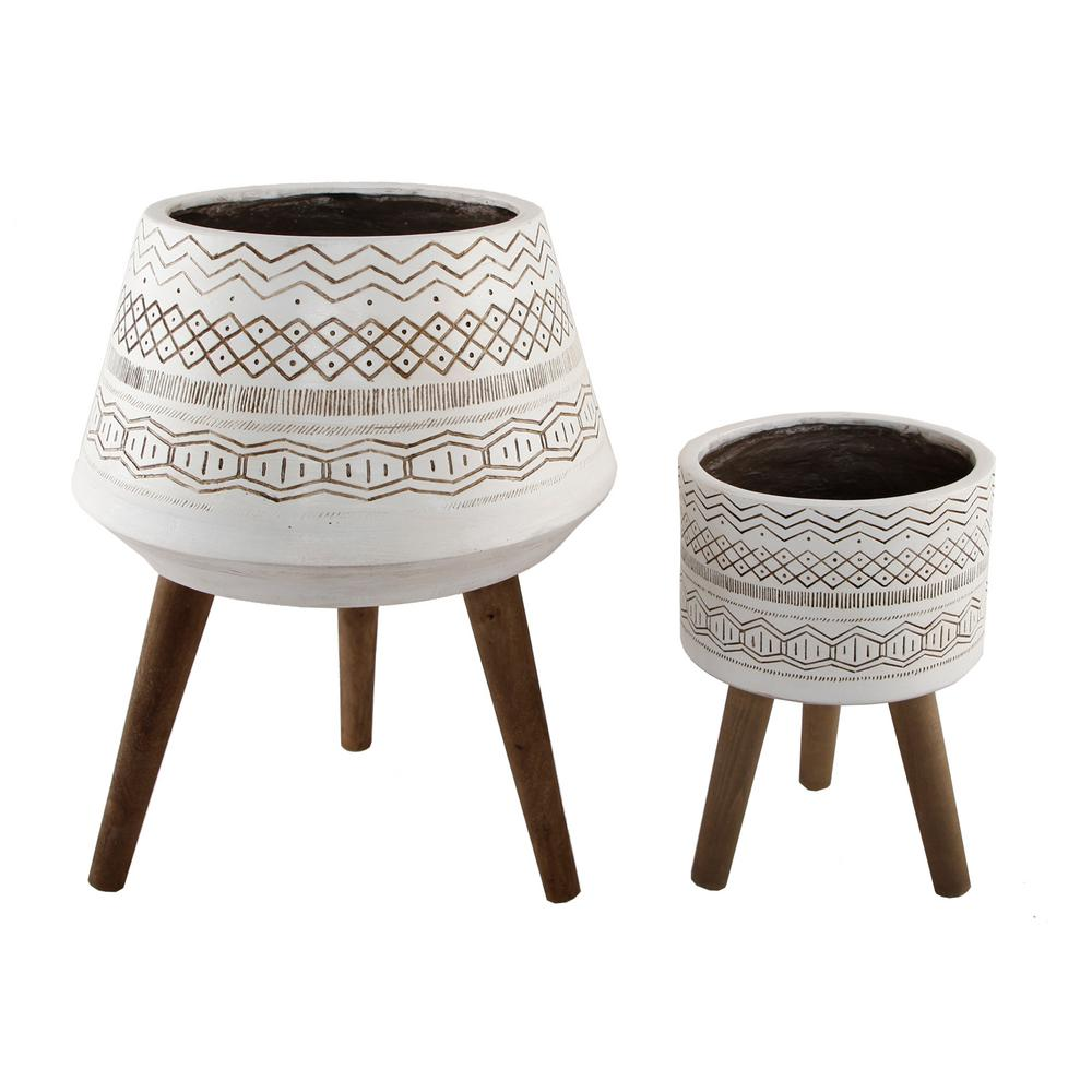 Flora Bunda 18 in. and 10 in. White Tribal Fiberglass Plant Pot on Wood Stand Mid-Century Planter (Set of 2)
