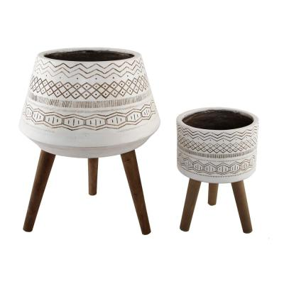 18 in. and 10 in. White Tribal Fiberglass Plant Pot on Wood Stand Mid-Century Planter (Set of 2)