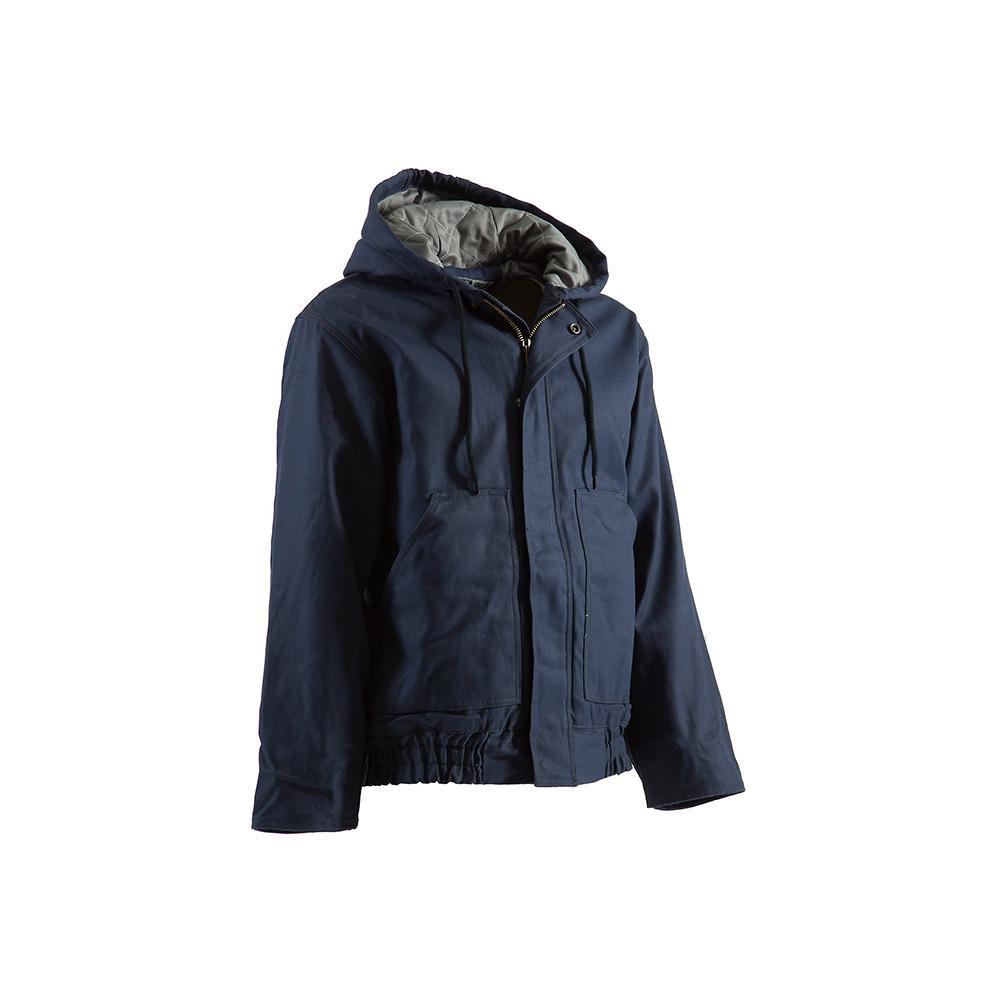 Men's 5 XL Regular Navy Cotton and Nylon Hooded Jacket