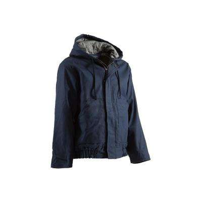 Men's Large Tall Navy Cotton and Nylon Hooded Jacket
