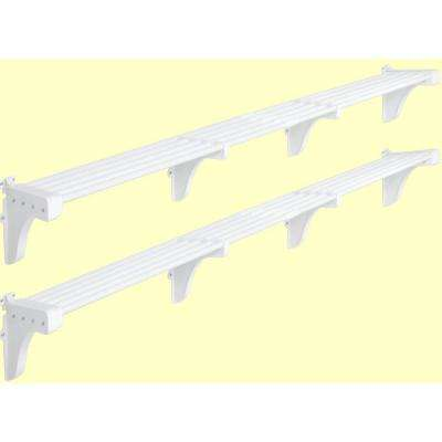 40 in. - 75 in. Expandable Large Garage Shelf in White (Set of 2)