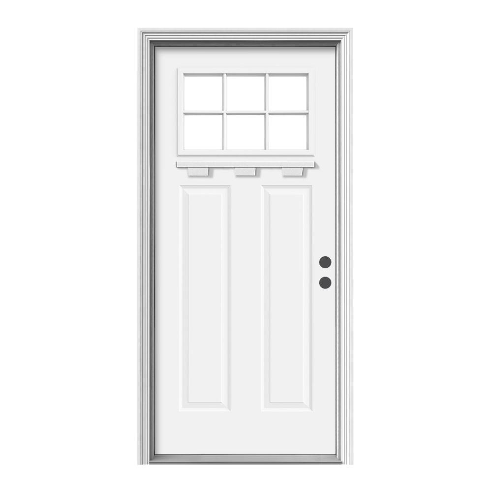 JELD-WEN 36 in. x 80 in. 6 Lite Craftsman White Painted Steel Prehung Left-Hand Inswing Front Door w/Brickmould and Shelf