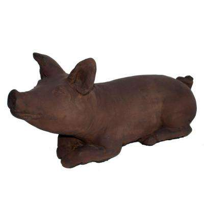Cast Stone Brother Pig Garden Statue - Dark Walnut