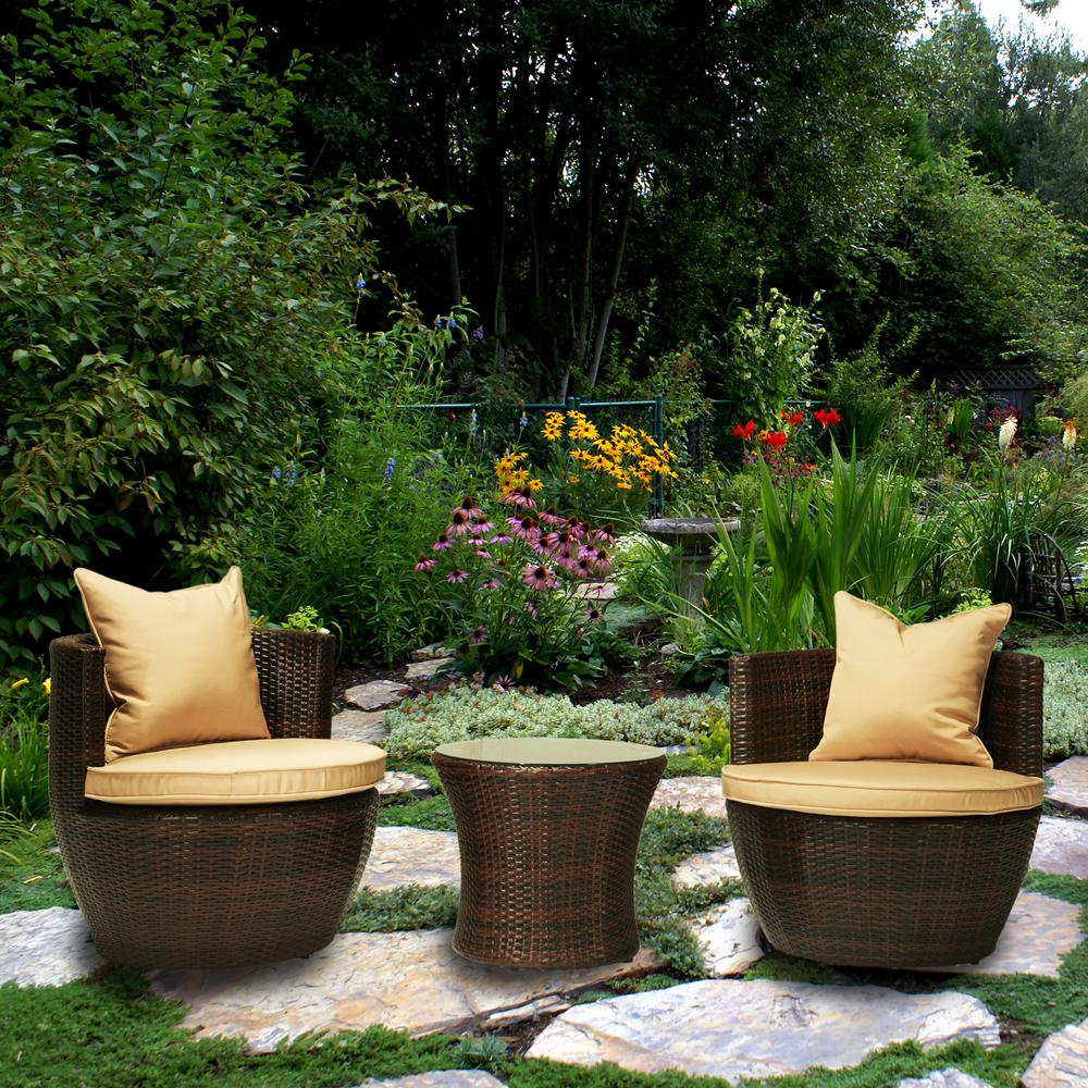 Perry Dark Brown 3-Piece Wicker Patio Conversation Set with Beige Cushions