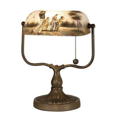 13.25 in. Antique Bronze Golf Handale Desk Lamp with Hand Painted Glass Shade