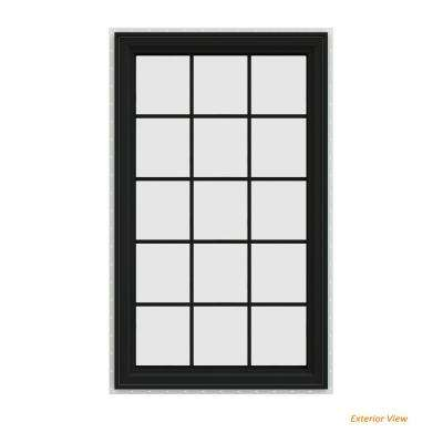 35.5 in. x 59.5 in. V-4500 Series Bronze Painted Vinyl Left-Handed Casement Window with Colonial Grids/Grilles