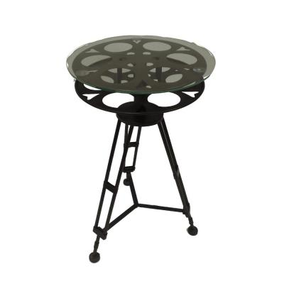 Black and Clear Tripod Base Metal Accent Table with Glass Top