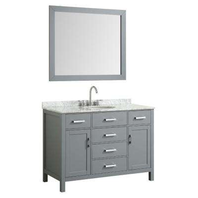 Hampton 49 in. Bath Vanity in Gray with Marble Vanity Top in Carrara White with White Basin and Mirror