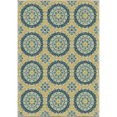 Twirling Medallions Multi 8 ft. x 11 ft. Indoor/Outdoor Area Rug