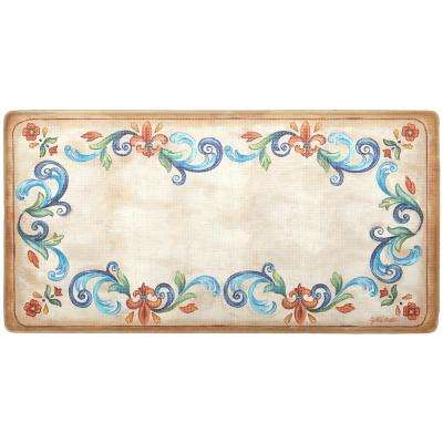 Cook N Comfort Cream Tuscan Fleur 20 in. x 39 in. Kitchen Mat