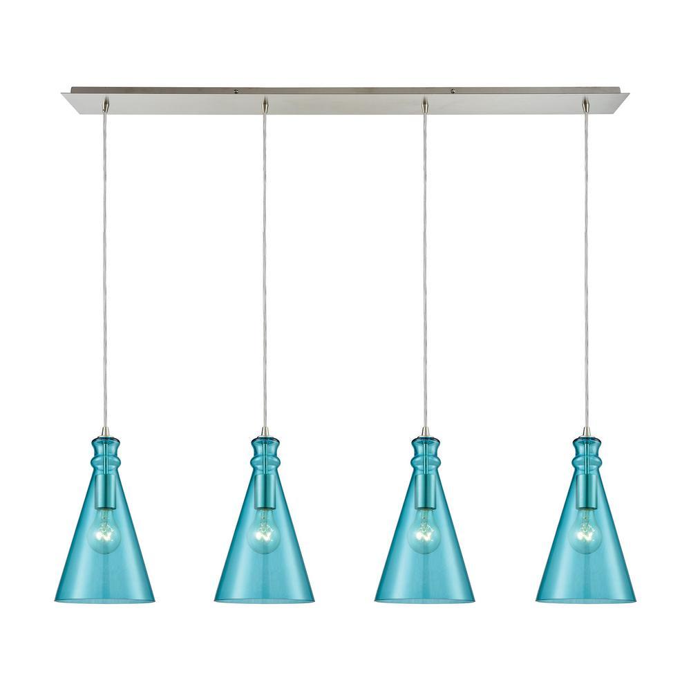 Nickel teal pendant lights lighting the home depot parson 4 light linear pan in satin nickel with aqua glass pendant aloadofball Choice Image