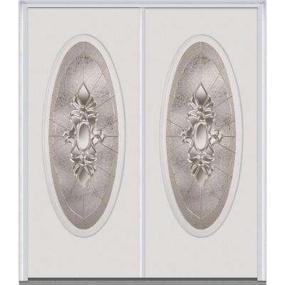 72 in. x 80 in. Heirlooms Right-Hand Inswing Oval Lite Decorative Painted Fiberglass Smooth Prehung Front Door