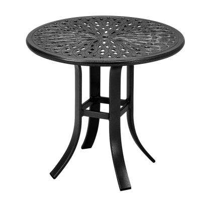 24 in. Black Cast Aluminum Commercial Patio Occasional Table