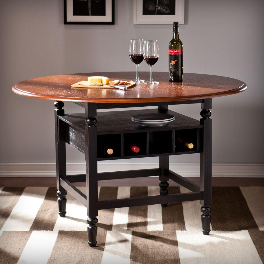 Southern Enterprises Delma Brown Mahogany And Black Dining Table Hd865515 The Home Depot