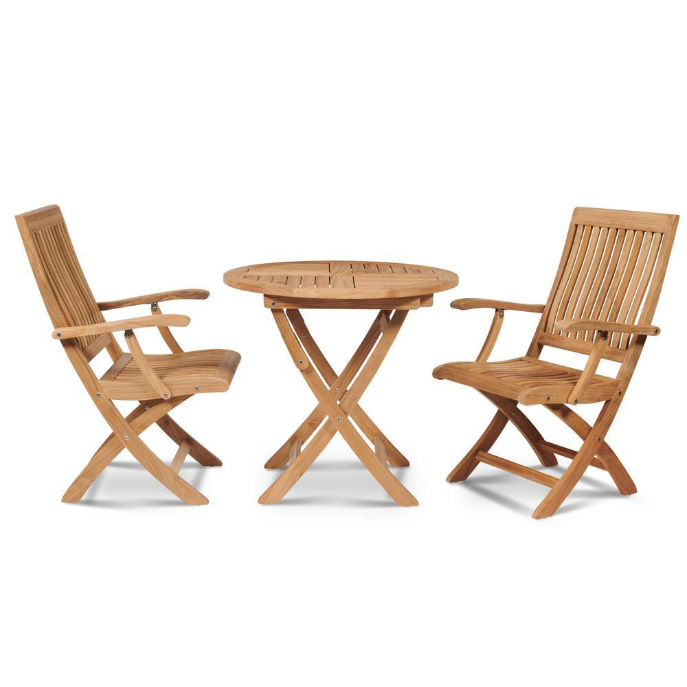 Devon 3-Piece Teak Round Folding Table Outdoor Bistro Set