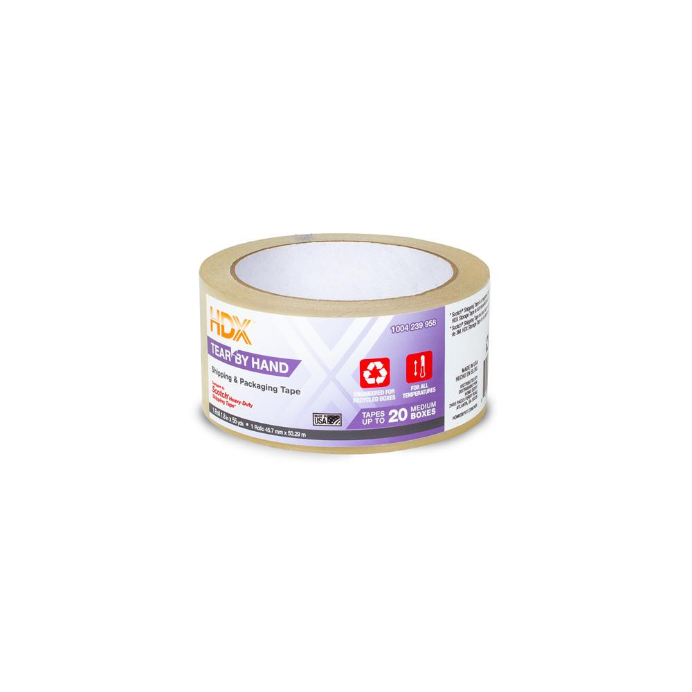 HDX HDX 1.88 in. x 55 yds. Clear Tear by Hand Shipping Packing Tape