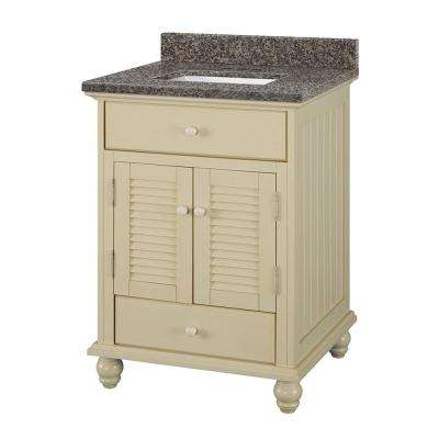 Cottage 25 in. W x 22 in. D Vanity in Antique White with Granite Vanity Top in Sircolo with White Sink