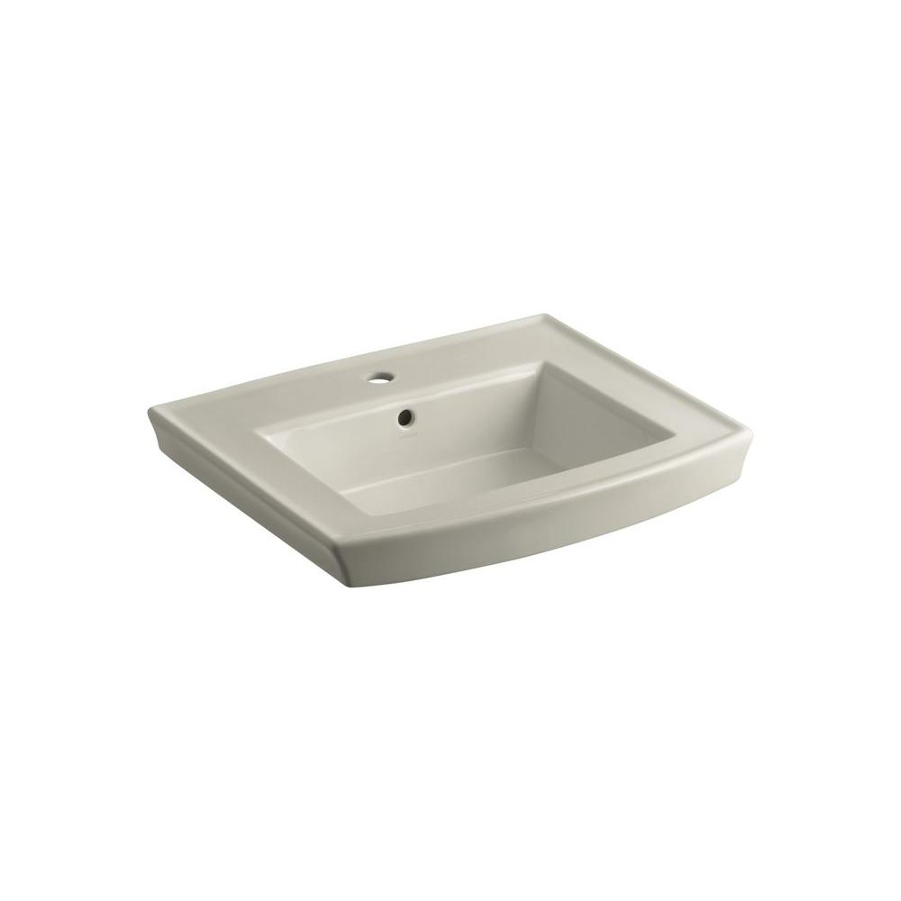 KOHLER Archer 4 in. Vitreous China Pedestal Sink Basin in Sandbar with Overflow Drain