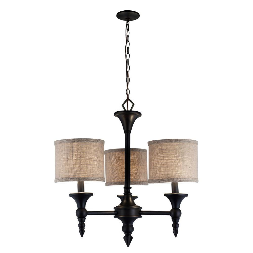 World Imports Jaxson Collection 3 Light Oil Rubbed Bronze Chandelier With Burlap Fabric Shades