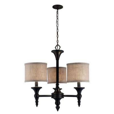 Jaxson Collection 3-Light Oil-Rubbed Bronze Chandelier with Burlap Fabric Shades