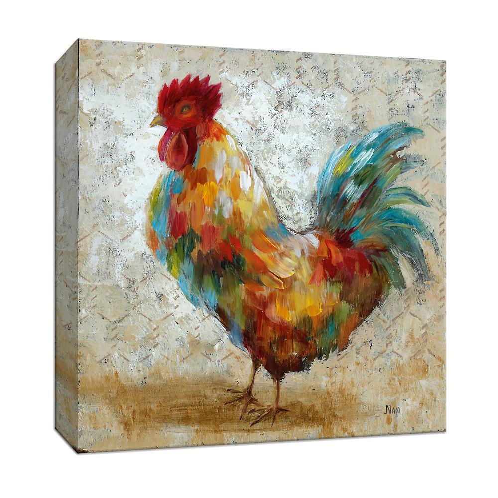 15 in. x 15 in. ''Fancy Rooster II'' Canvas Wall Art