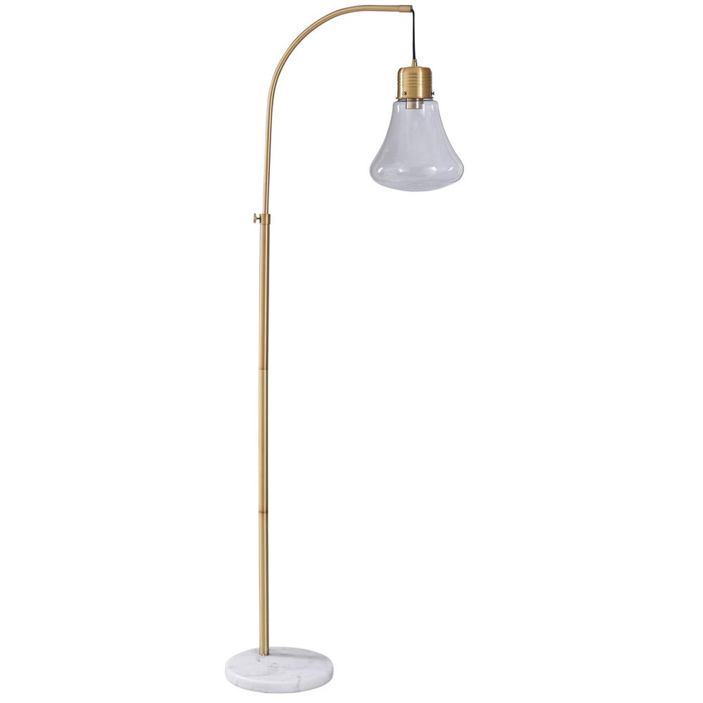 Stylecraft 65 In White Gold Floor Lamp With Clear Glass Shade