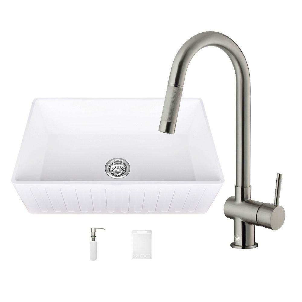 All-in-One 30 in. 0-Hole Farmhouse Kitchen Sink and Gramercy Stainless Steel