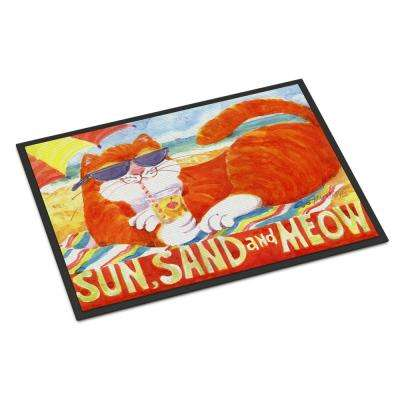 18 in. x 27 in. Indoor/Outdoor Orange Tabby at The Beach Door Mat