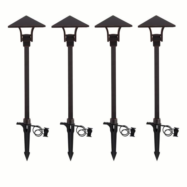 4.5-Watt Oil Rubbed Bronze Outdoor Integrated LED Landscape Path Light (4-Pack)