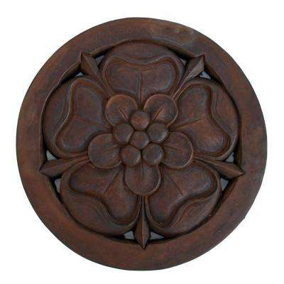 Cast Stone Tudor Rose Stepstone - Dark Walnut