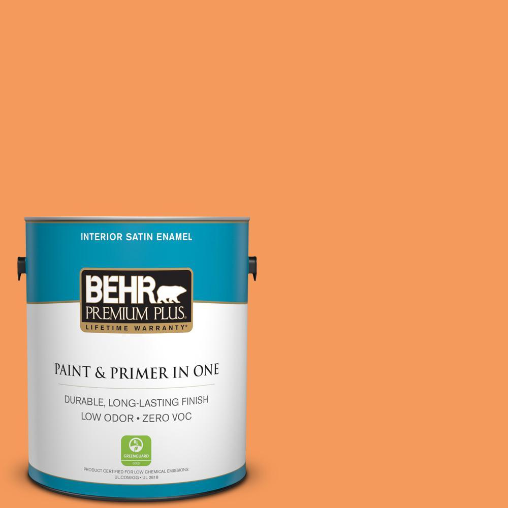 1-gal. #260B-6 Blaze Orange Zero VOC Satin Enamel Interior Paint