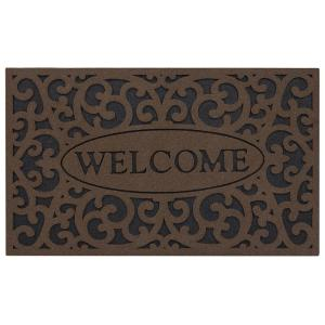 Apache Mills Welcome Iron Brown 18 inch x 30 inch Door Mat by Apache Mills