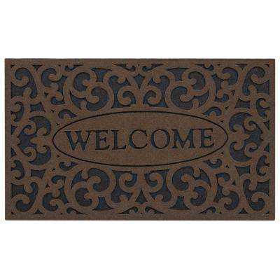 Welcome Iron Brown 18 in. x 30 in. Door Mat