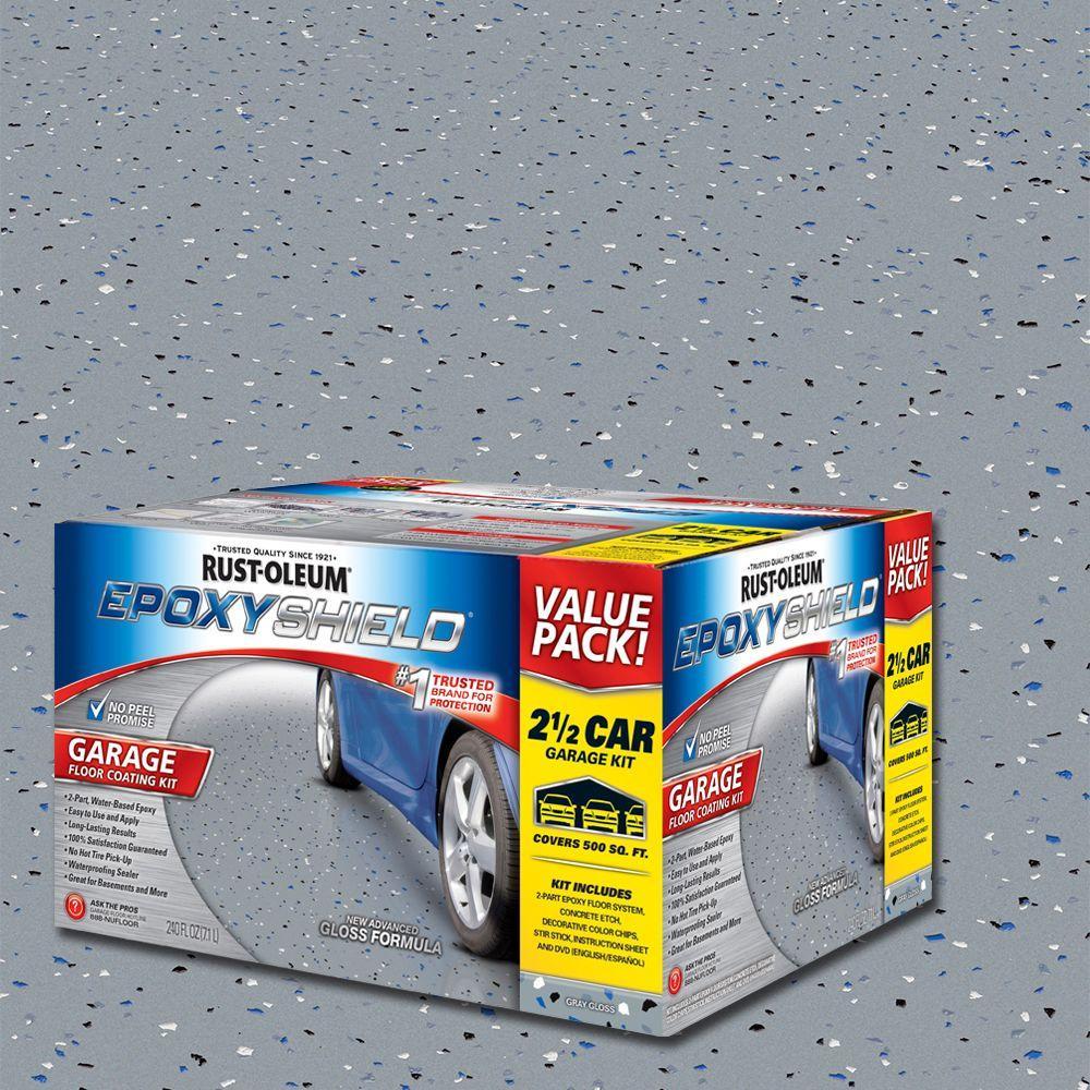 Rust Oleum EpoxyShield 2 Gal. Gray 2 Part High Gloss Epoxy Garage Floor  Coating Kit 251870   The Home Depot