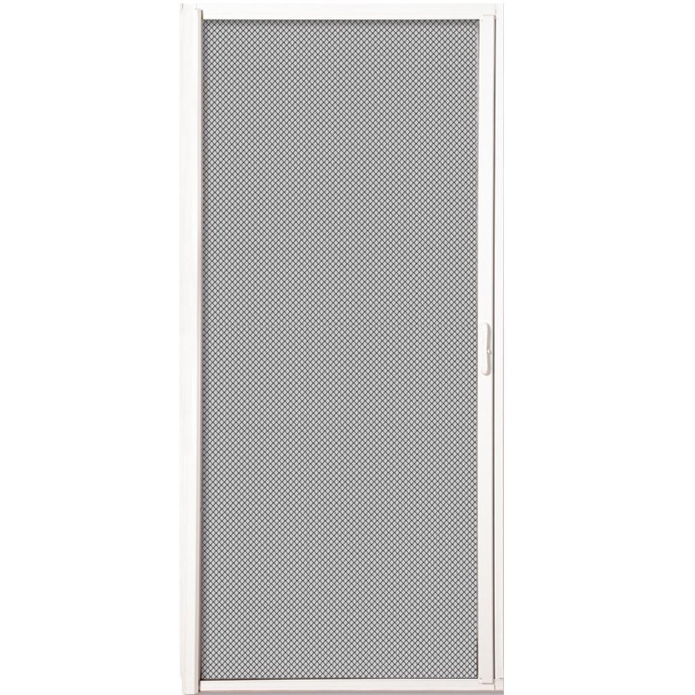 36 in. x 80 in. White Aluminum Inswing Retractable Single Screen Door