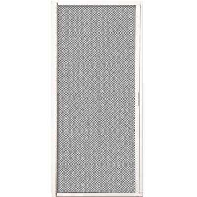 White Aluminum Inswing Retractable Single Screen Door