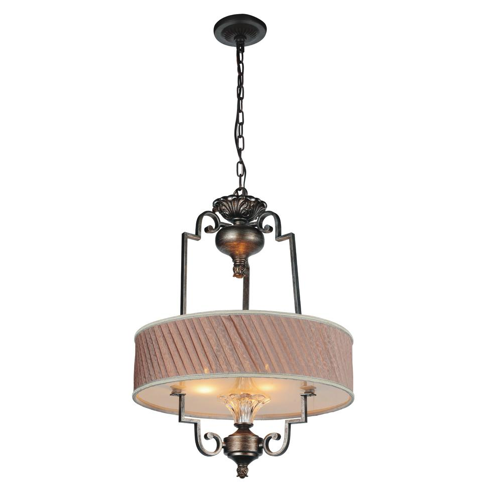 Rogue 4-Light Antique Forged Silver Chandelier with Gray Shade