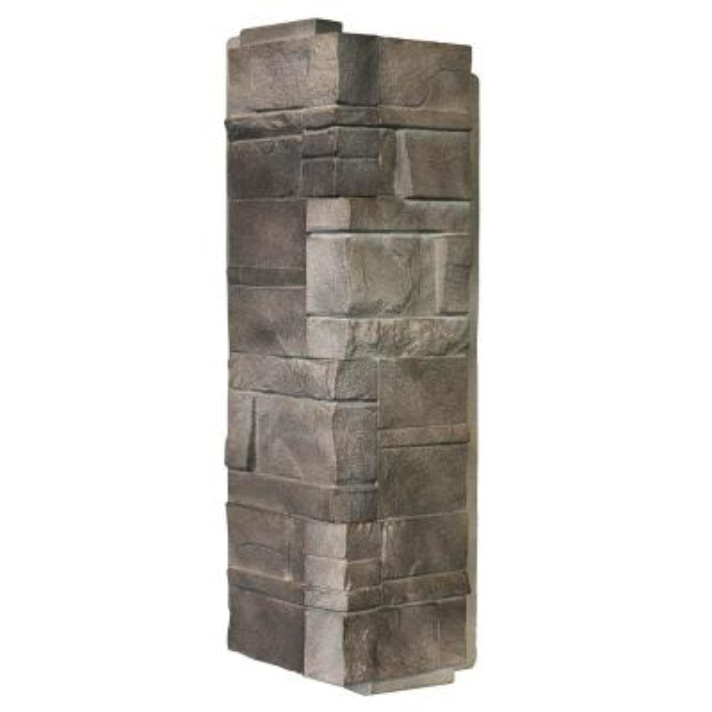 Stone DS - 5.88 in. x 16 in. Dry Stack Stone in Flint - Corner (6.30 lin. ft. per Box) Trim Plastic Siding