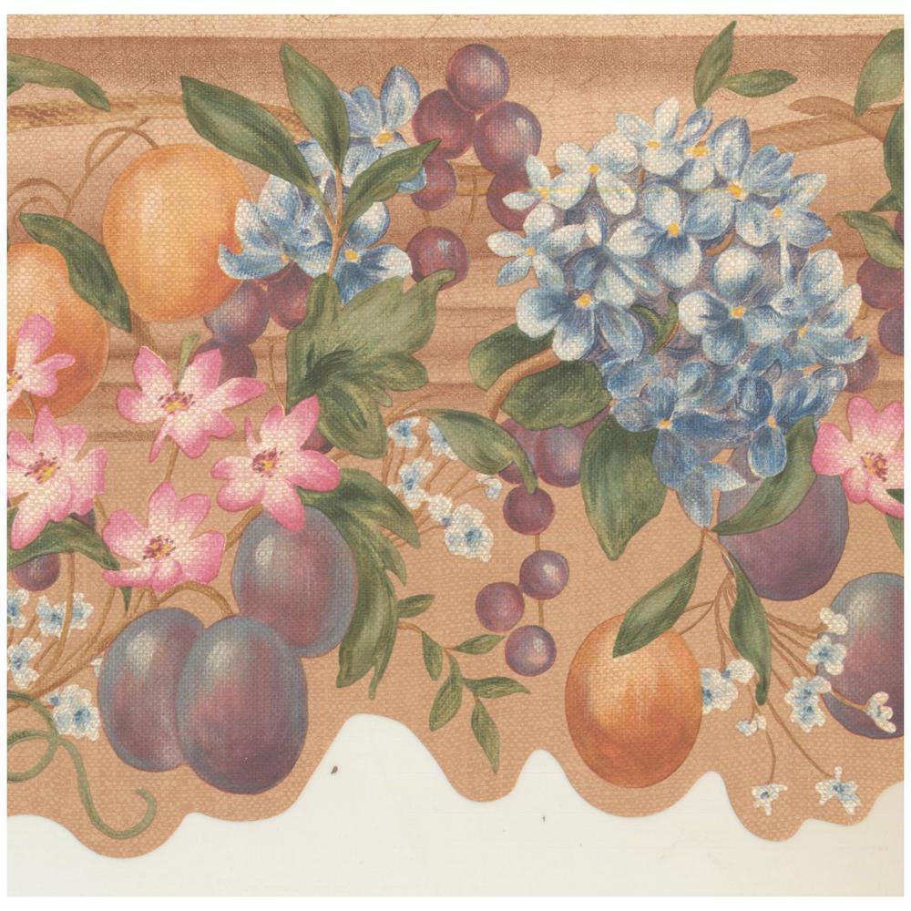 York Wallcoverings Vintage Apple Plum Grapes Blue Pink Flowers