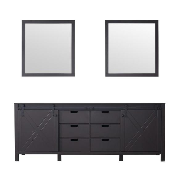 Marsyas 84 in. Double Bath Vanity Cabinet Only with Mirror in Brown