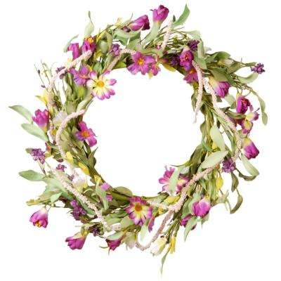 20 in. Purple Mixed Flowers Floral Wreath Decor